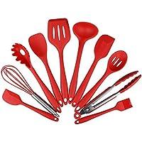 CONMING 10 Pezzi in silicone da cucina Utensili da cucina Pinze, Frusta, spazzola, Cucchiaio scanalato, (Facile Loop Turner)