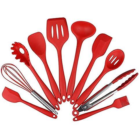 Set di 10 Silicone Utensili da cucina cucina Anti-aderente Strumenti di cottura Resistente al calore (Facile Loop Turner)