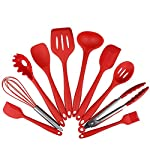 Set of 10 Kitchen Utensils, Silicone Non-toxic Non-stick Kitchenware Series Home Cooking Tools Include Tong, Whisk, Brush, Slotted spoon, Pasta fork, Slotted spatula (RED)