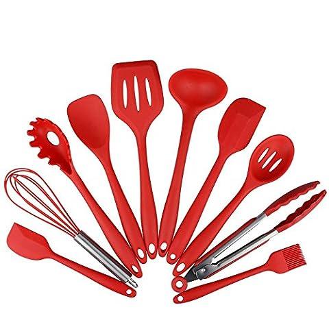 silicone ustensiles de cuisine, dix Pièce Prime Outils de cuisson Ensemble comprenant pinces fouet brosse (Facile Loop Turner)