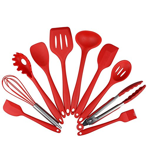 RiseSun 10 Pieces Food Grade Silicone Cooking Utensil Set, Premium Heat Resistant Non-Stick Kitchen Baking Sets, Food Clip, Whisk, Small Brush, Large Scraper, Small Scraper, Leakage Spoon, Lowder Grasping, Butter Scraper, Spatula, Spoon (Red)