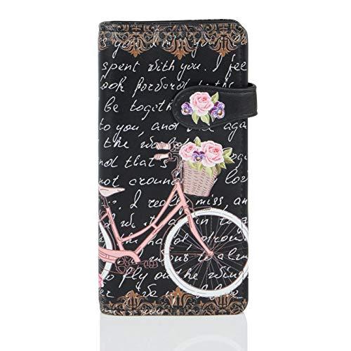 Shagwear Portemonnaie Geldbörse für Junge Damen, Mädchen Geldbeutel Portmonaise groß Designs: (Paris Fahrrad/Paris Bike Black)