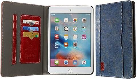 3Q iPad Mini 4 Hülle Hochwertiger Leder-Optik Elegante Tablet Tasche für Apple iPad 4 Case mit Fächern für Kreditkarte Ausweis Visitenkarte Schweizer Premium Design und Verpackung Cover Blau