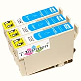 *TITOPATEN* 3x Epson Workforce WF 3520 DWF kompatible XL Druckerpatrone ersetzt Typ T1291-1294 - Cyan - Patrone MIT CHIP !!!