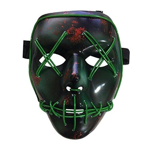(Artbro Scary Halloween LED Light up Maske für Festivel, Cosplay, Kostüm, Thema Parteien Schwarz)