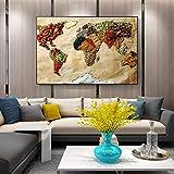Carte Du Monde Alimentaire Mur Affiche Moderne Grain Entier Pop Art Impression Sur...