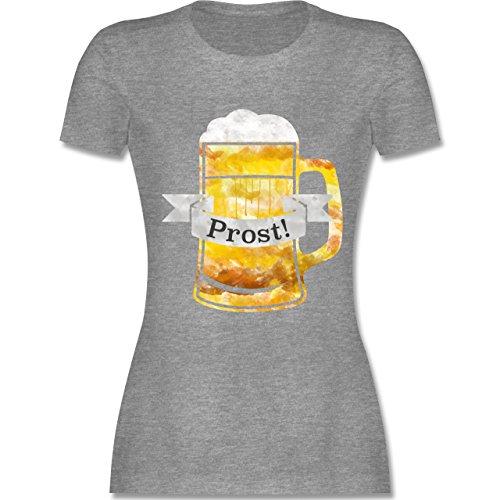 Oktoberfest Damen - Prost Bierkrug Wasserfarben - tailliertes Premium T- Shirt mit Rundhalsausschnitt für Damen