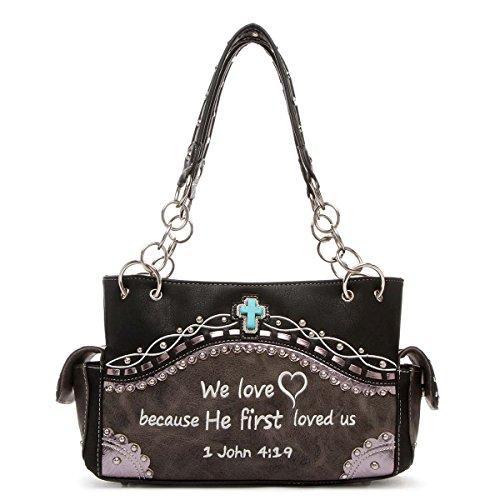 Cowgirl Trendy Westernhandtasche - bestickt Bibelvers John 4:19 oben mit Griff, Schwarz (schwarz), Medium - Brieftaschen Western Bling