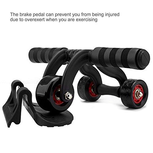 Drei Rad Bauchtrainer AB Roller mit Knie Pad Badvorleger Core Bauch Trainer für Home Exercise, Körper Fitness Stärke Training Maschine ab Rad Gym Werkzeug, schwarz (Ab Rad-knie-pad Roller)