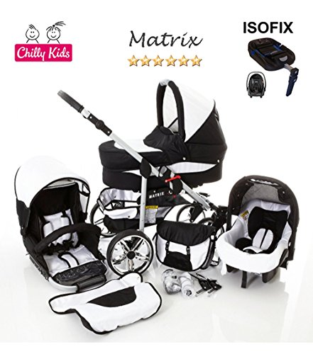 Chilly Kids Matrix II Kinderwagen Safety-Set (Autositz & ISOFIX Basis, Regenschutz, Moskitonetz, Schwenkräder) 56 Schwarz & Weiß