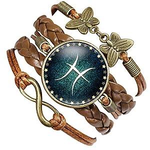 Caimeytie Braun Leder Geflochten Armbänder Kinder Schmetterling Unendlich 12 Sternbilder