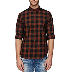 Indian Terrain Mens Checkered Regular Fit Casual Shirt (ITA17SHK142_Black_S)