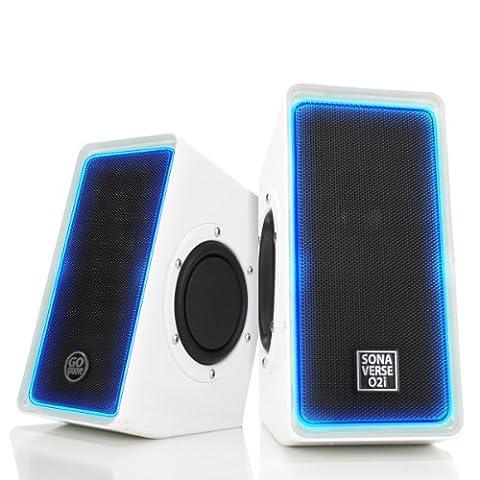 Gogroove Enceintes PC USB Stéréo avec LED Lumineux Et Basses Profondes Haut-Parleurs Multimédia 2.0 Système d' Enceintes Pour Ordinateurs Portables ou de Bureau , Tablettes , Smartphones , MP3