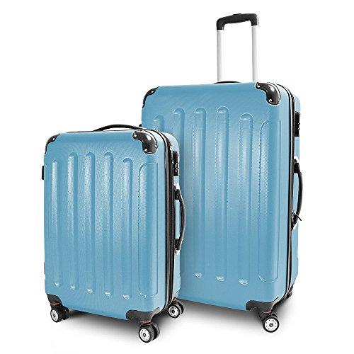 BERWIN Kofferset L + XL 2-teilig Reisekoffer Trolley Hartschalenkoffer ABS Teleskopgriff Modell Stripes (Himmelblau)