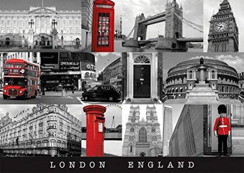 Set: Londres, Big Ben, Bus, Cabine Téléphonique Carte postale (15x10 cm) + 1x Sticker Surprise 1art1®