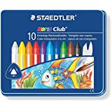 Staedtler - Noris Club 228 - Boîte Métal 10 Craies à la Cire Triangulaires Aquarellables Assorties