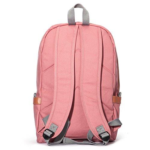 Eshow Damen Canvas Reise Sport Freizeit Wochenende Uni Rucksack Taschen Rosa