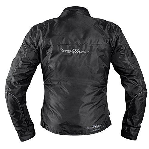 Giacca-Lady-Moto-Donna-Tessuto-Protezioni-CE-Sfoderabile-Scooter-Nero-L