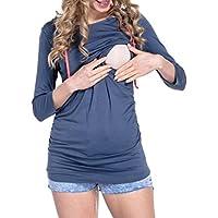 Gusspower La Maternidad, La Lactancia Materna Las Mujeres Sudadera con Capucha Colorblock Patchwork Outerwear Tops