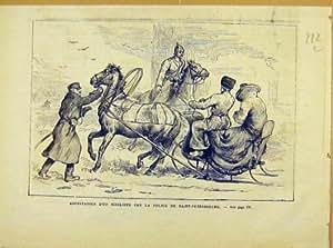 Impression 1881 d'Arrestation de Nihiliste St Petersburg Russie
