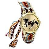 JewelryWe Geflochten Damen Armbanduhr,Seil Band Analog Quarz Uhr,Nationale Wind Retro Pferd...