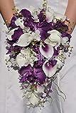Silk Blooms Ltd Künstliche Vanda-Orchidee, Dendrobium, Orchidee und Calla-Lilie, Brautstrauß mit Maiglöckchen, Violett