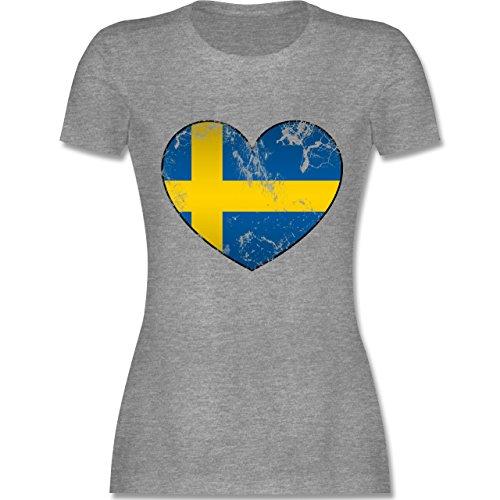 Fußball-Weltmeisterschaft 2018 - Schweden Vintage Herz - L - Grau Meliert - L191 - Damen T-Shirt Rundhals