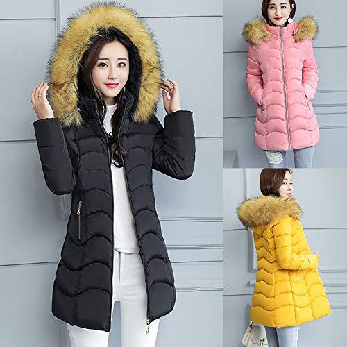 DIKEWANG Women Warm Winter Cotton Fleece Lined Parka Faux Fur Hooded Jacket Coat Thick Warm Slim Jacket Long Overcoat