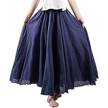 25cfe962da527 OCHENTA Femme Jupe Boheme Tour de Taille Elastique Casual en Coton Dress  Mariage Plage