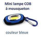Mini lámpara COB, Super luminosidad 3modos de luces con mosquetón, 4colores para elegir, azul