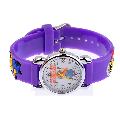 Image of Cute Despicable Me Rubber Watchband Round Dial Mini Shape Watch for Your Children (Random pattern) (Purple)