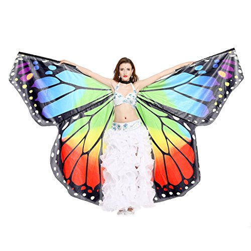 Dance Fairy Bauchtanz Schmetterlings Engel Isis Flügel mit Stöcken,Regenbogen (Nicht einschließlich andere Zusätze) (Halloween Schmetterling Wings)