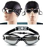 Nearsighted Schwimmbrille, Goodsmiley Myopic UV400 Anti-Fog Wasserdichte Lecklose Schutzbrille mit Siamesed Earbuds, Nasenclip für kurzsichtige Männer, Frauen, Jugendschwimmer (Schwarz,-4.5)