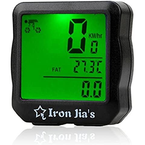 IRON JIA'S A prueba de agua de luz de fondo digital de bicicletas ordenador cuentakilómetros velocímetro Cronómetro Reloj bici de la computadora Accesorios de bicicletas (Green)