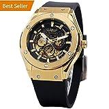 Herren Einzigartiges Design Luxus automatische Movt beliebten Stil Echtes Leder Armband Skelett Uhr