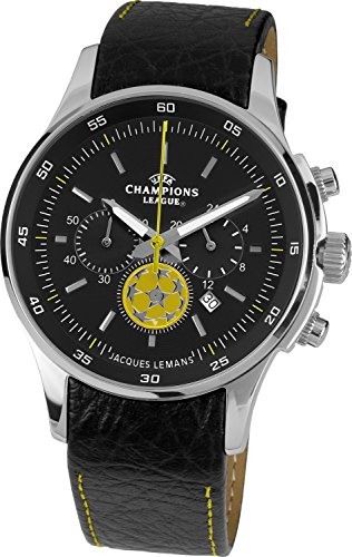 Jacques Lemans Herren-Armbanduhr XL Uefa Champions League Chronograph Quarz Leder U-32I1