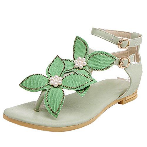 TAOFFEN Femmes Mode Clip Toe Open Back Sandales T-strap Plat Sangle De Cheville Chaussures 775 Vert