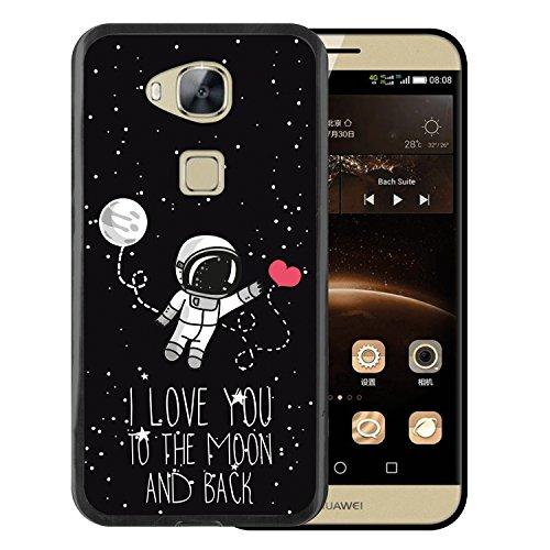 WoowCase Funda Huawei GX8 / G8, [Huawei GX8 / G8 ] Funda Silicona Gel Flexible Astronauta Corazón - I Love To The Moon and Back, Carcasa Case TPU Silicona - Negro