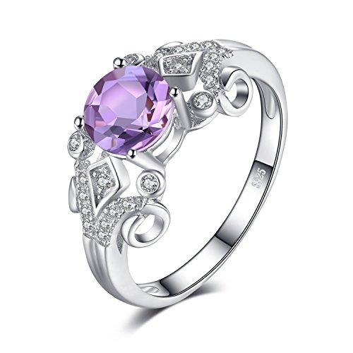 JewelryPalace Vintage 1ct Echter Oval Amethyst Ring Runde Jahrestag Ring Verlobungsring 925 Sterling Silber
