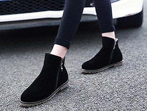 Wealsex Bottes Plates Suédé Automne Hiver Fermeture Eclair Boots Chaudes Femme Noir