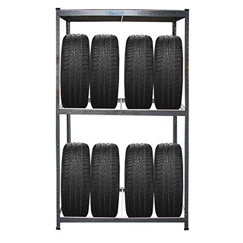 HELO KFZ Reifenregal aus verzinktem Stahl für bis zu 8 Auto Reifen +1 Regalboden oben (mit max. 795 kg belastbar), Reifenständer Steckregal Höhe: 180cm, Breite: 120cm, Tiefe: 40cm, Lagerregal Gewicht: ca. 9,5 kg - ACHTUNG: II. Wahl B-Ware
