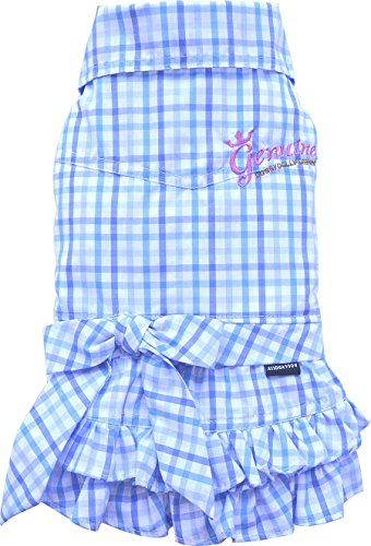 Doggy Dolly D279 Blusenkleid für Hunde, blau Kariertes, Größe : S