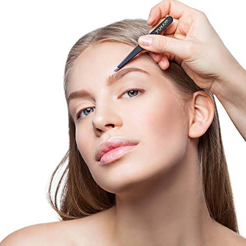 YUMAYA® Augenbrauen Pinzetten Set mit Etui (4-teilig) - verbesserte Spitzen - Pinzette Augenbrauen zupfen - Kosmetik Augenbrauenpinzette set - Pinzette Haarentfernung inkl. eBook