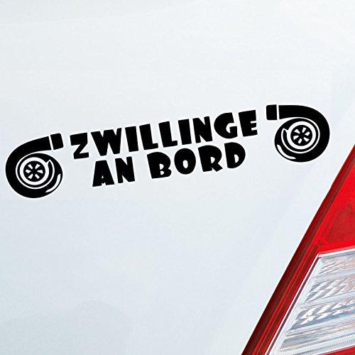 Auto Aufkleber in deiner Wunschfarbe Zwillinge an Bord Turbolader Turbo Twins 20x4cm Autoaufkleber Sticker Folie