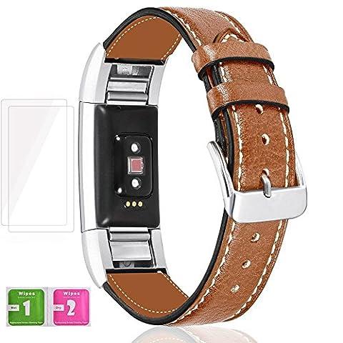 Fitbit Charge 2 Bracelet, Digitek Bande Cuir Remplacement Bracelet Réglable Sangle Watchband Sport avec 2 * Fitbit Alta HR Protecteur d'Écran, 1 * Lingettes Mouillées, 1 * Lingettes Sèches - 5 Pieces/Set (Sans Traqueur) (Brun)