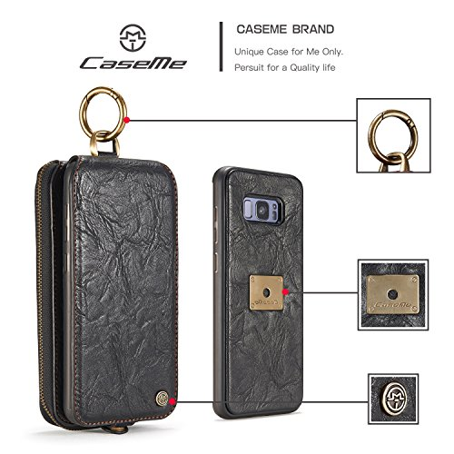 SDDMALL CaseMe Leder Brieftasche Case mit Magnetic PC + TPU Back Cover, abnehmbare Folio, Bargeld Halter Zipper Design für Samsung Galaxy S8 ( Color : Brown ) Black