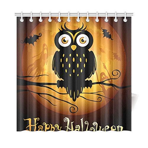 JOCHUAN Wohnkultur Bad Vorhang Halloween Eule Silhouette Auf Mond Polyester Stoff Wasserdicht Duschvorhang Für Badezimmer, 72X72 Zoll Duschvorhang Haken Enthalten
