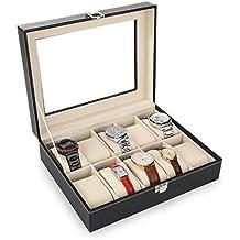 Amzdeal scatola porta orologi custodia per 10