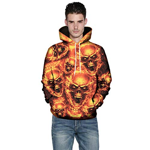 TWBB Herren Halloween Hoodies Slim Fit 3D Schädel Digital Bedruckte Kapuzenpullover Langarm Fashion Graphic Mantel Outwear Sweatjacke