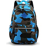 Medium-Sized Backpack for Junior Grade or Preschool Kindergarten Kids Boys Girls (Camo Blue) by MIFULGOO